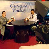 Mary on Guyana TV, promoting Youth for Human Rights